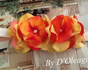 Orange Yellow Spring Headband- Flower Girls Headband- Baby Girls Headband- Handmade Accessories-Flower Girls-Stretch Headband-Made to Order!
