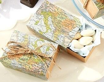 Map Boxes Wedding Favors Wedding Favor Boxes Guest Gift Boxes Map Favor Boxes Vintage Map Boxes Wedding Guest Gifts Mint Boxes Mint Tins