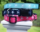 Starfish Dog Collars / Beach Collars / Summer Collars /   Sm/Med or Med/Large / Matching Leash