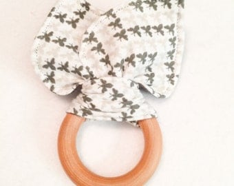 Limited Edition Organic Shades of Grey Chevron Bees Teething Ring/Fabric Ear Combo