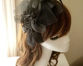 DARKWHISPER Couture Handmade Black Ribbon Rose & Feather Sexy Lady Hat / Hair accessory