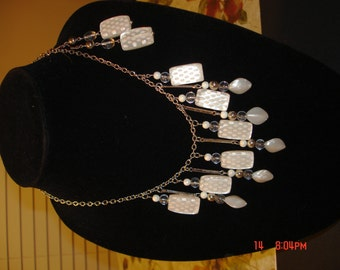 White polka and silver jewelry set