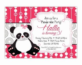 Panda Invitation - Hot Pink Gray Black Polka Dots, Cute Little Girl Panda Bear Personalized Birthday Party Invite - a Digital Printable File