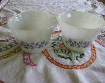 Vintage Dynaware Custard Cups, Blue Flowers, American Floral Pattern