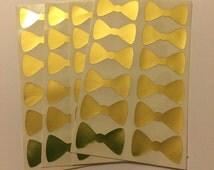 24 Gold Bowtie Die Cut Stickers - Wedding Bow Tie Stickers / Envelope Sealers / Gold Wedding Decor // Silver