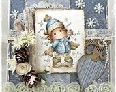 Handmade Christmas Magnolia Tilda Card, By Becky