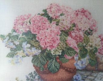 Vintage embroidery, wall art, hydrangea's