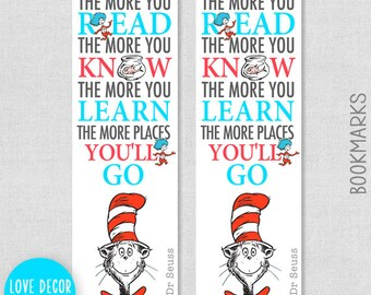 Printable Dr Seuss Bookmark - Cat in the hat Nursery Quote - The more that you read, the more you know