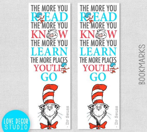 Printable Dr Seuss Bookmark Cat In The Hat Nursery Quote