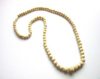 Long Carved Ox Bone Necklace Faux Ivory Graduated Beads 26 Inches