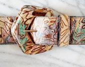 Vintage Pastel Leather Funky Wide Belt