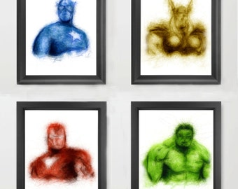 Avengers INSTANT DOWNLOAD Set, Marvel comics, art, comic book fan, superhero kids room, Avengers brithday - Digital Download Art Prints