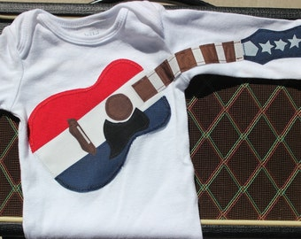 Red White and Blue Acoustic Guitar Outfit - 4th Of July Guitar Bodysuit