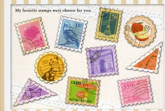 Japan Mind Wave OLD STAMPS 70pcs stickers sack