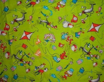 Green Dr Seuss Cotton Fabric by the Half Yard
