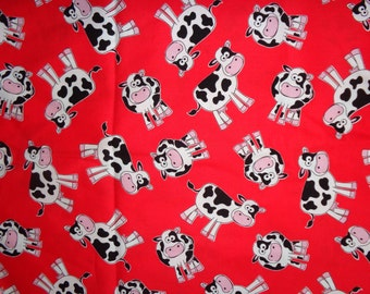 Red Holstein Cow Cotton Fabric by the Yard