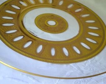 Vintage Signed Culver Platter, Antiqua Pattern, 22 K Gold, 60's,  Hollywood Regency