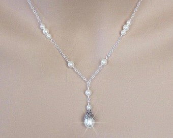 Wedding Pearl Necklace, Bridal Necklace, Vintage Style, Bridesmaid Necklace Antique Style Y Drop Necklace Bridesmaid Gift Ivory White Silver