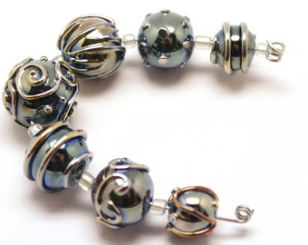 Pearly Karpel Lampwork Beads (7) SRA  Mode to order Handmade