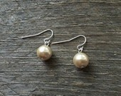 CYBER MONDAY Bridal Earrings Champagne Pearl Earrings Single Pearl on Silver or Gold French Wire Hook