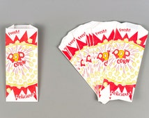 40 Popcorn Bags Retro Style Popcorn Bags with Printable Party Invitation Kit and Label Stickers