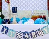 Baby Boy Shower Decoration.  IT'S A BOY Blue Indigo Aqua Banner Sign.