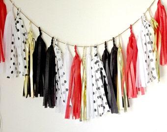 RED MINNIE - Tissue Paper Tassel Garland  - Party - Birthday - Baby Shower - Nursery