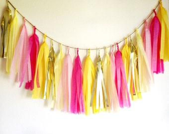 LEMONADE - Tissue Paper Tassel Garland, Tissue Paper Tassels, Wedding, Tassel Garland, Party Banner, Tassels, Pink Tassels,Gold Tassels
