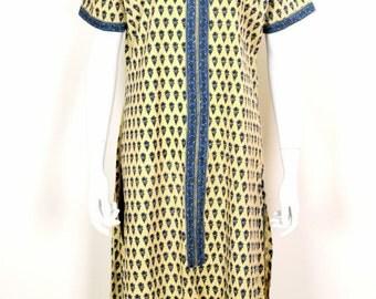 ON SALE India Indian KALAMKARI Caftan Kaftan 70s 1970s Vintage Kalamkari Printed Cotton Caftan Kaftan Boho Hippie Chic Festival Tunic Dress