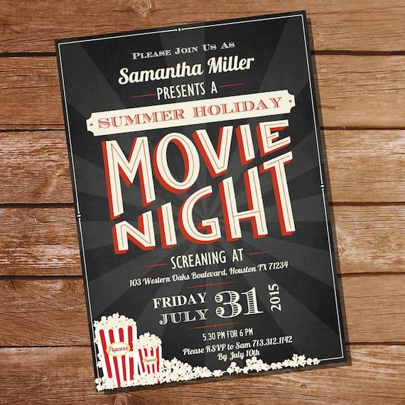 chalkboard movie night party invitation movie night invitation