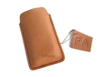 Vegetable Tanned Leather iPhone Case, iPhone Sleeve, iPhone 5,6,  Natural Color.