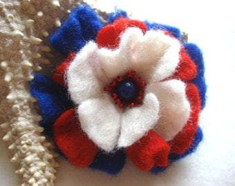 Blue, Red, White Felted Flower Brooch Pin,Wool Felt, Felted Wool, Felt Brooch, Flower Brooch, Pin, Felt Flower Pin, Beaded Flower, American