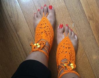 JUST BARE IT Beach Pool Yoga Dance Barefoot Sandals Orange