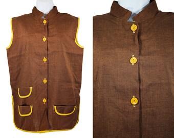 10 DOLLAR SALE---Vintage 60's Brown & Mustard Yellow Sleeveless Top Shirt Tunic L