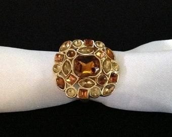 Vintage Chico's Amber/ Topaz Rhinestone Cluster Ring