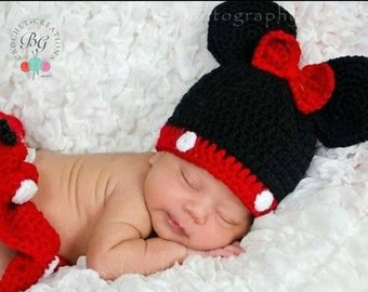 Minnie Mouse Inspired Hat, Diaper Cover and Bootie Set Made to order