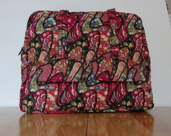 Red Black Green Tan Floral Quilted Purse Totebag