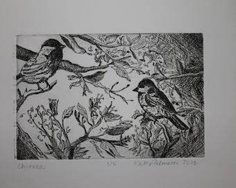 Chickadees Intaglio Print in Black Ink