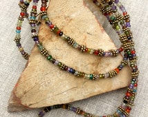 Multicolored Gemstone Necklace with Gold Accents