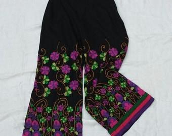 Capri pants / palazzo pants with floral embroidery / summer floral pants / black cotton Capri pants / festival boho hippie pants
