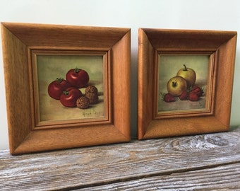 Vintage 1959 Framed Art Fruit Print, Donald Art Co. Inc N Y No. H 3074 Printed In Holland