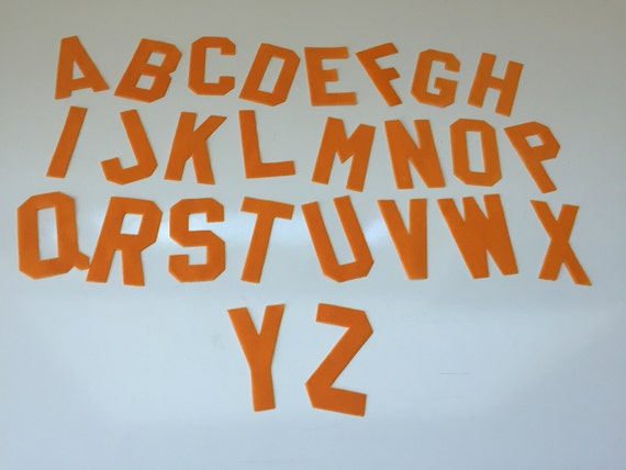 2 orange applique alphabet letters a thru z 20 of each letter iron