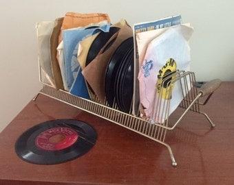 SALE-Vintage Record Holder & 20 Vintage 45's Records