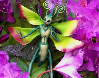 "Green WOOD SPRITE Fairy ""Geah"" - Hand Sculpted Figurine - OOAK - Beautiful!!"
