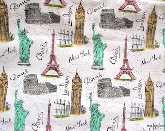 International Landmarks World Souvenirs Print Cotton Canvas Fabric Sold by Half Yard
