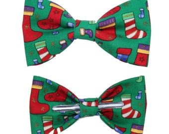 Christmas / Holidays Stockings Festive Clip On Cotton Bow Tie Bowtie ~ Choose Men's or Boys Size