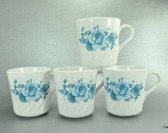 Corning Corelle Blue Velvet Rose Set of 4 White Swirl Coffee Mugs Cups