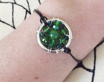 The Bipolar Disorder Awareness Leather Cord Bracelet: The Life Collection/Sterling Silver/green Swarovski/ beads/beaded wrap/mental illness