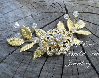 Gold leaf  hair piece, bridal head piece, wedding trends, vintage style hair comb, wreath, gatsby bridal veil