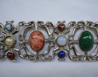Vintage Agates and Gems Panel Bracelet - Faux Agate Cabochons set in Silver tone Panels - Classic 1970s